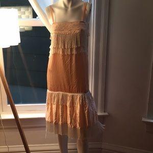 Dresses & Skirts - Vintage Peach/Pink Flapper Tassle Dress Size Small